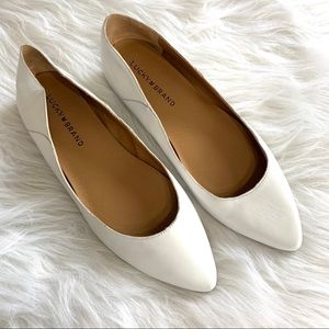 Lucky Brand White Leather Point Toe Flats
